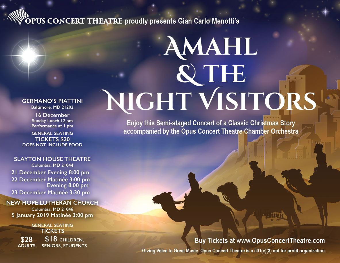 Letter Flyer for Amahl and The Night Visitors by Opus Concert Theatre
